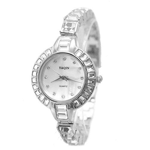 DEFW864B NATUERLICHE PNP glaenzende silberne Uhr Kasten weisse Vorwahlknopf Damen Frauen Armband Uhr