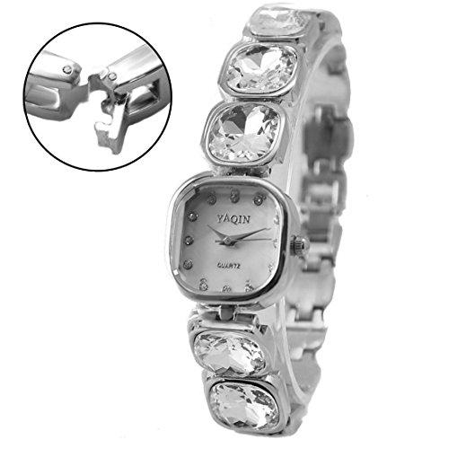 DEFW874B Square PNP glaenzend Silber Uhrengehaeuse weisses Zifferblatt Damen