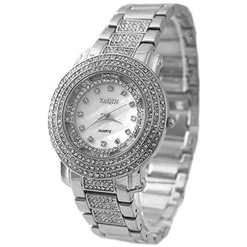 DEFW907B Neue weisse Vorwahlknopf glaenzende silberne Band PNP glaenzende silberne Uhr Fall Art und Weiseuhr