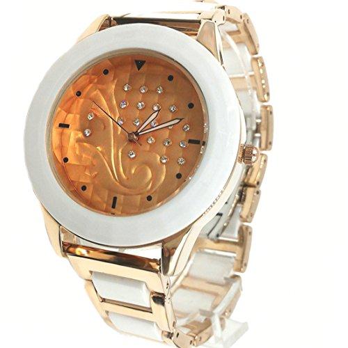 DEFW970A Rosen Goldtone Band Rosen Goldtone Uhr Fall Frauen keramische Art und Weiseuhr