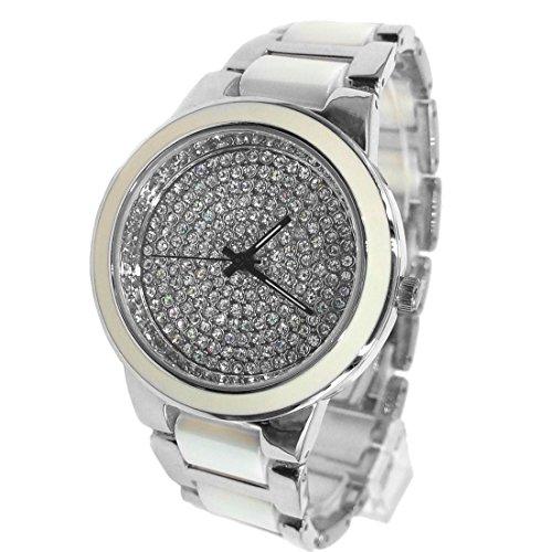 DEFW971B runde PNP glaenzende silberne Uhr Kasten Damen Frauen keramische Uhr Art und Weiseuhr
