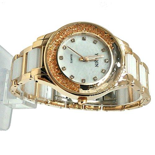 DEFW975A Neue weisse Vorwahlknopf Rosen Goldtone Uhr Kasten Frauen keramische Uhr Art und Weiseuhr