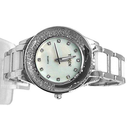 DEFW975B runde PNP glaenzende silberne Uhr Kasten Damen Frauen keramische Uhr Art und Weiseuhr