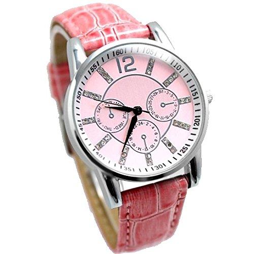 Dial New Pink Pink Band PNP glaenzende silberne Uhrgehaeuse Unisex Mode Uhr