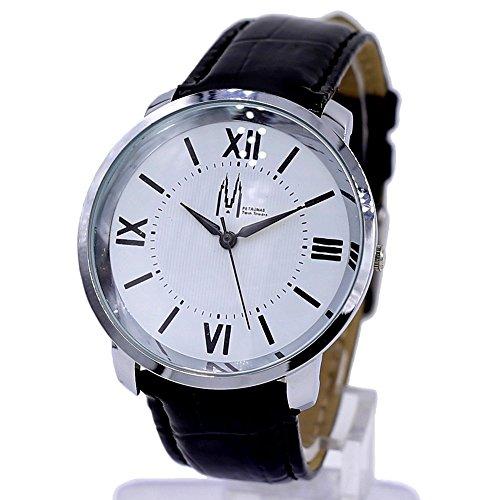 Dial New Weiss Schwarz Band runde PNP glaenzende silberne Uhrgehaeuse Mode Uhr