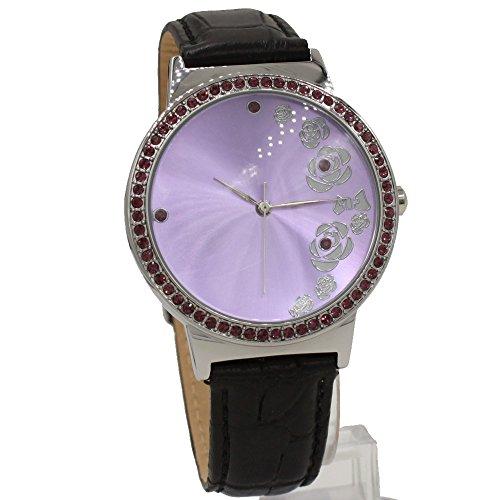 Dial Violett Schwarz Band Runde 100 geprueft 3ATM Velet Kristall Mode Uhr