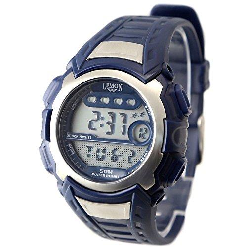 10dw326d dunkelblau Watchcase Chronograph Hintergrundbeleuchtung Wasser widerstehen Herren Digitale Armbanduhr