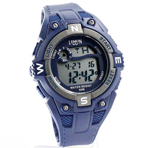 ukdw454 a dunkelblau Watchcase Alarm Hintergrundbeleuchtung grau Luenette Wasser widerstehen Digitale Armbanduhr