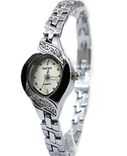 New Elliptic PNP glaenzende silberne Uhrgehaeuse weissen Zifferblatt Damen Armbanduhr