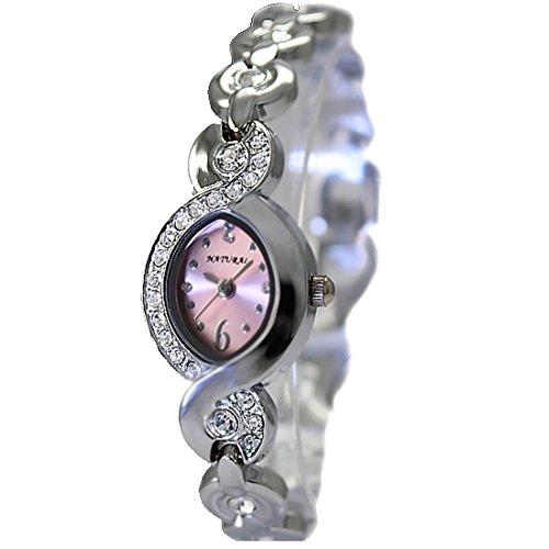 Elliptische PNP glaenzende silberne Uhrgehaeuse rosa Zifferblatt Dame Frauen Armband Uhr