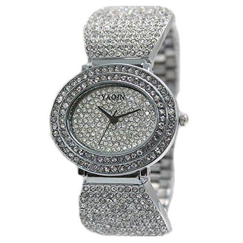 DEFW869B Neue elliptische PNP glaenzende Silber Uhrengehaeuse Silber Zifferblatt Damen Armbanduhr