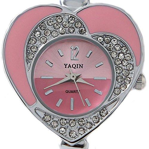 Neue glaenzende silberne Band Rosa Zifferblatt Frauen Kristallherz Kasten Armband Uhr