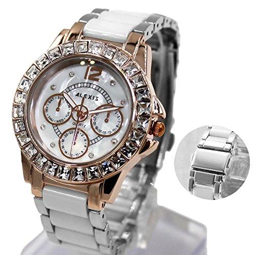 Neue glaenzende silberne Band Rose Gold Ton Uhrgehaeuse Weiss Armband Uhr Dial