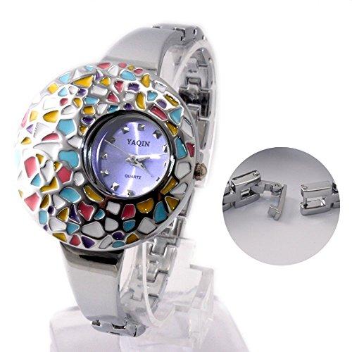 Neue glaenzende silberne Band runden Light Blue Dial bunte Fall Armband Uhr