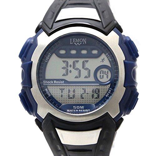 PNP glaenzende silberne Uhrgehaeuse Chronograph Datum Alarm Maenner Frauen Digitaluhr