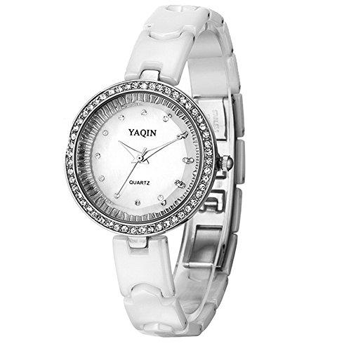 PNP glaenzende silberne Uhrgehaeuse Dame Frauen Grosszuegige Kristall keramische Uhr
