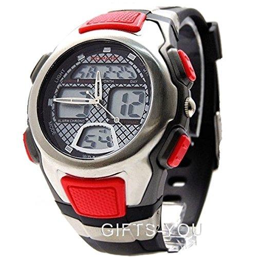 PNP glaenzende silberne Uhrgehaeuse Datum Alarm Hintergrundbeleuchtung Mens Analog Digital Uhr