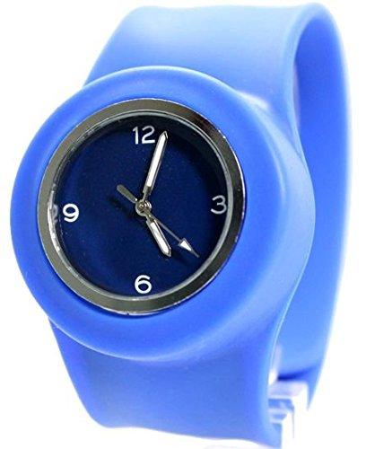 PNP glaenzende silberne Uhrgehaeuse Silikon Blue Band Jungen Maedchen SNAP Mode Uhr