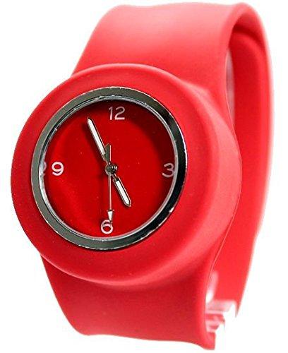 PNP glaenzende silberne Uhrgehaeuse Silikon Rot Band Maenner Frauen SNAP Mode Uhr