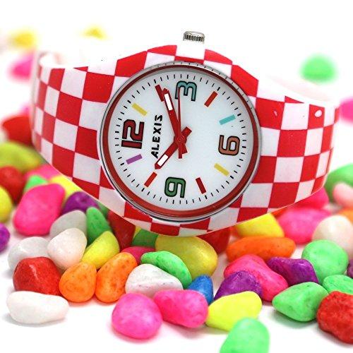 PNP glaenzende silberne Uhrgehaeuse Silikon Rot Band Unisex ALEXIS Mode Uhr