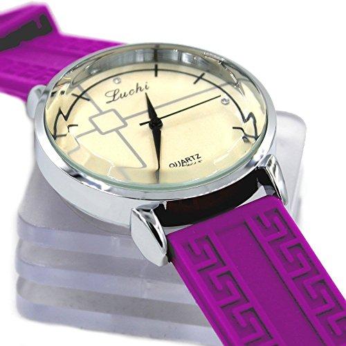 Runde PNP glaenzende silberne Uhrgehaeuse Silikon Violet Band Frauen Mode Uhr