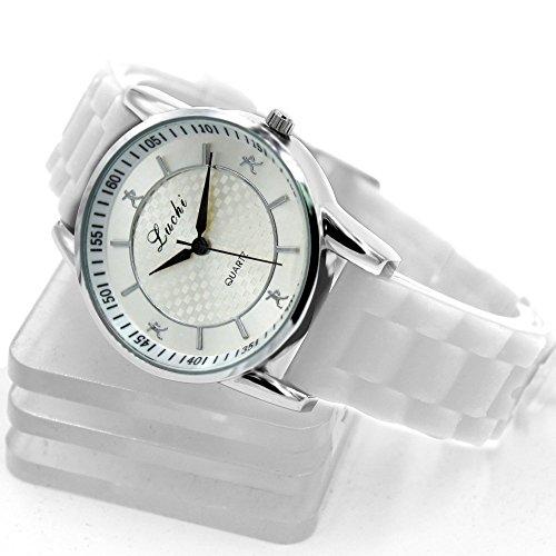 PNP glaenzende silberne Uhrgehaeuse Silikon Weiss Band Dame Frauen Mode Uhr