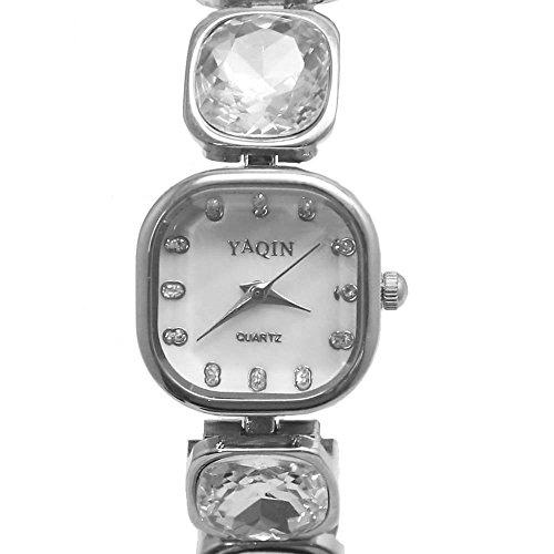New Square PNP glaenzende silberne Uhrgehaeuse weissen Zifferblatt Damen Armbanduhr