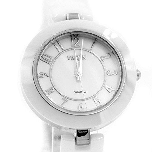 Neue PNP glaenzende silberne Uhrgehaeuse weisses Zifferblatt Damen Keramik Armband Uhr