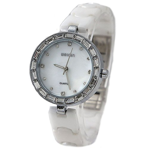 PNP glaenzendes Silber Uhrengehaeuse weisses Zifferblatt Damen Damen Keramik Armbanduhr