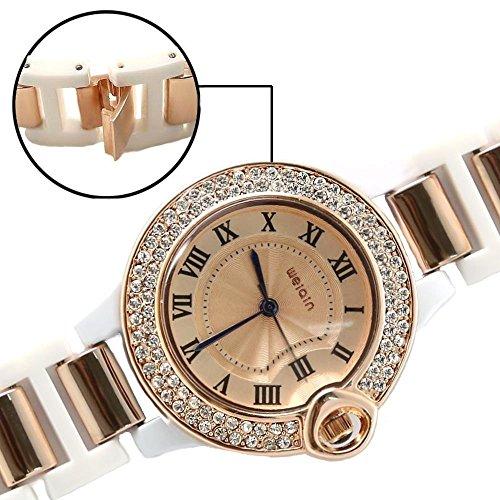 Rose Gold Ton Band runde Rose Gold Ton Uhrgehaeuse Female Fashion Watch