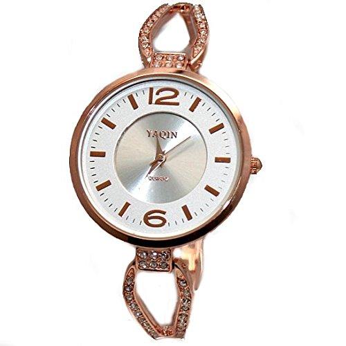 Gold Ton Band runde Matt Silver Rose Dial Damen elegantes Armband Uhr