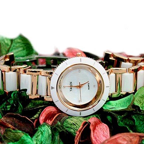 Rose Gold Ton Uhrgehaeuse Weiss Damen Frauen Keramik Armband Uhr Dial