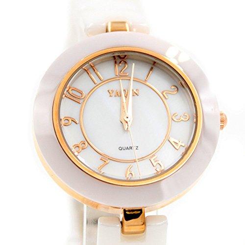Round Rose Gold Ton Uhrgehaeuse weissen Zifferblatt Weibliche Keramik Armband Uhr