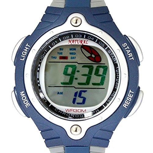 GrayWatchcase Datum Alarm Hintergrundbeleuchtung Blau Luenette Wasserdicht Digitaluhr