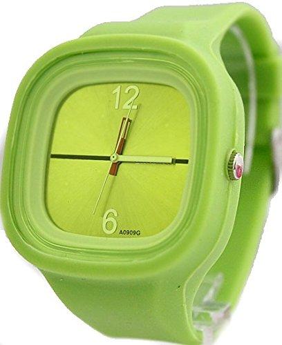New Green Dial Weiss Uhrgehaeuse Silikon Gruen Band Jungen Maedchen Mode Uhr
