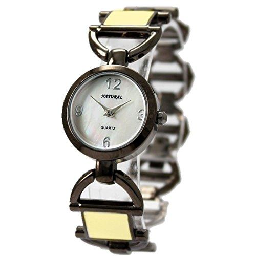 New Gunmetal Band Gunmetal Tone Uhrgehaeuse Weiss Zifferblatt Frauen Armband Uhr