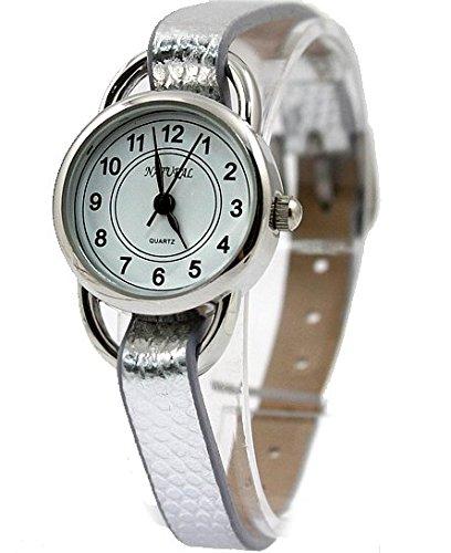 Dial Weiss Hellgrau Band PNP glaenzende silberne Uhrgehaeuse Guenstige Mode Uhr