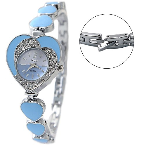 New Light Blue Dial Damen Two Tone Dial Herz Fall Armband Uhr