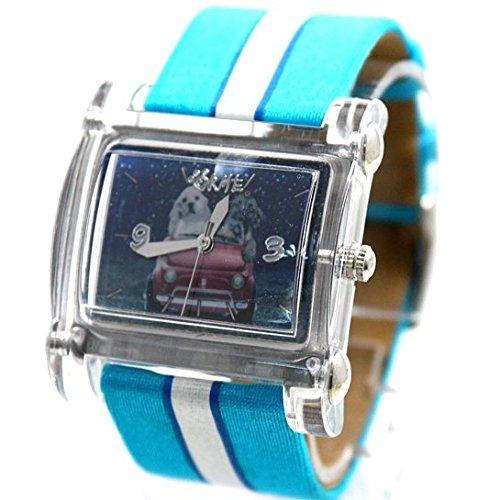 Light Blue Dial Light Blue Band Rechteckige weisse Uhrgehaeuse Mode Uhr