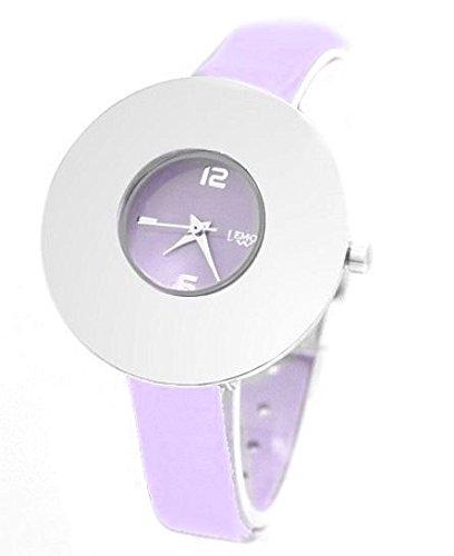 Lila Band runde PNP glaenzende silberne Uhrgehaeuse Dame Frauen Mode Uhr