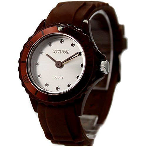 Matt Silver Dial Brown Uhrgehaeuse Silikon Brown Band Damen Mode Uhr