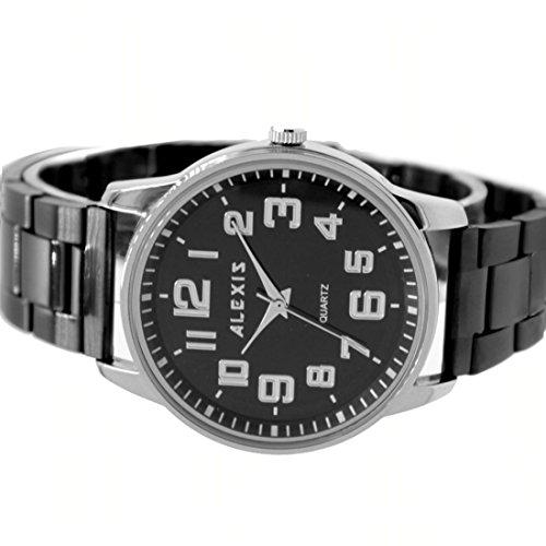 Metall Schwarz Band Runde PNP glaenzende silberne Uhrgehaeuse Mann Frauen Mode Uhr