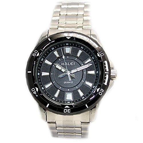 Dial neue natuerliche schwarze runde PNP glaenzende silberne Uhrgehaeuse Herren Trendy Uhr