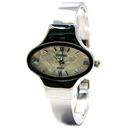10 fw573 a natuerlichen Elliptische PNP Glaenzendes Silber Watchcase Frauen Beige Zifferblatt Armreif Armbanduhr