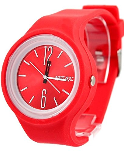 NATURAL Red Dial Weiss Uhrgehaeuse Silikon Red Band Jungen Maedchen Mode Uhr