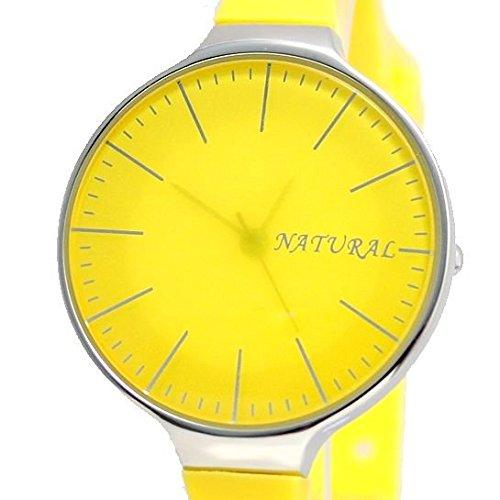 NATURAL Gelb Band runde PNP glaenzende silberne Uhrgehaeuse Female Mode Uhr