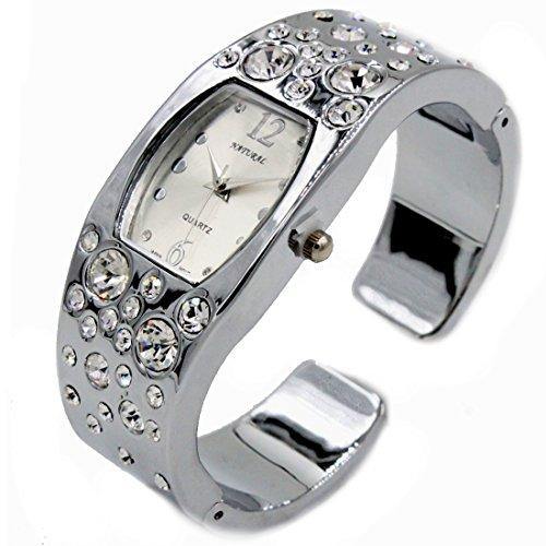 NATURAL Matt Silver Dial glaenzende silberne Band Rechteckige Frauen Armband Uhr