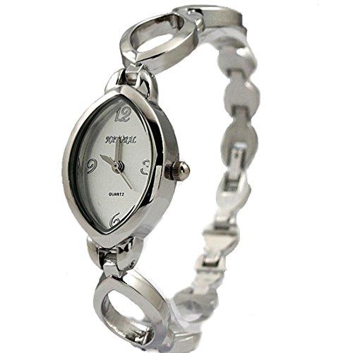 NATURAL glaenzende silberne Band Matt Silver Dial Dame Frauen Armband Uhr