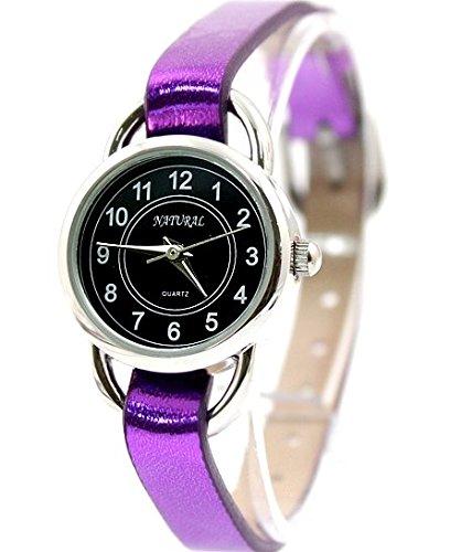 NATURAL Violet Band PNP glaenzende silberne Uhrgehaeuse Dame Frauen Mode Uhr