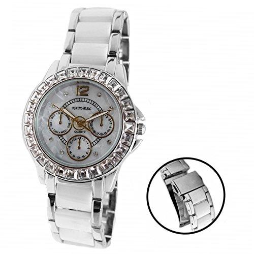NATURAL weissen Zifferblatt weiblich Keramik Wasserdicht Kristall Armband Uhr